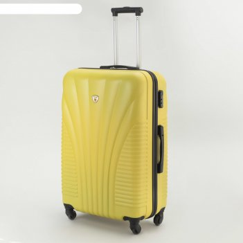 Чемодан большой, 28, отдел на молнии, кодовый замок, 4 колеса, цвет жёлтый