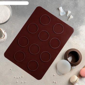 Набор для выпечки макаронс 5 предметов ронд: коврик, емкость для крема, 3