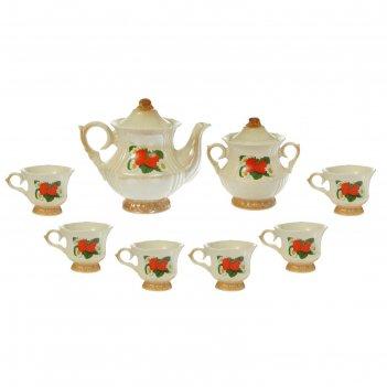 Чайный набор лордкоричневый, клубника 8 предметов 0,6/0,25 л