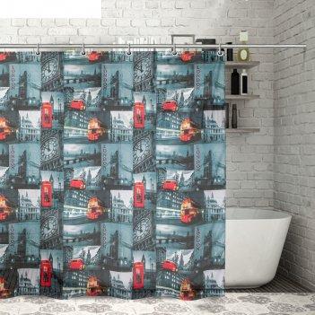 Штора для ванной 180x180 см лондонский коллаж, полиэстер