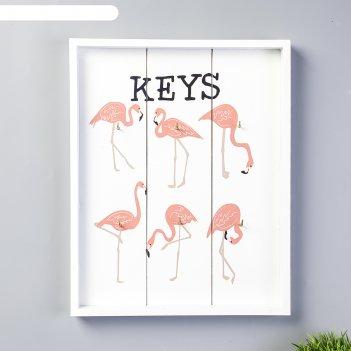 Крючки декоративные дерево фламинго 30,2х24,2х2,8 см