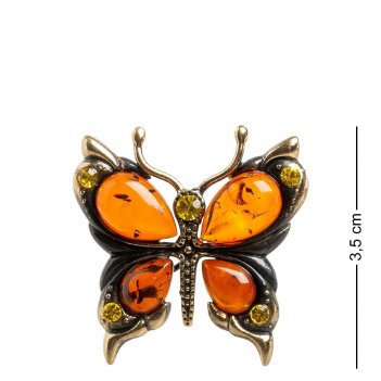 Am- 869 брошь бабочка (латунь, янтарь)