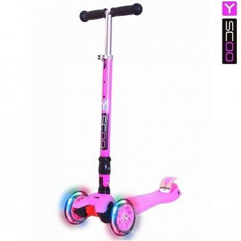 Самокат y-scoo 35 maxi fix shine pink со светящимися колесами