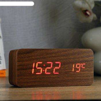 Часы электронные вайс с будильником, термометром, красные цифры (+ зарядка