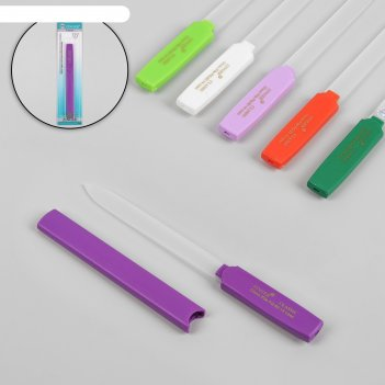 Пилка стеклянная для ногтей, с колпачком, 16 см, цвет микс, fg-02-14-case
