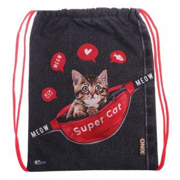 Мешок для обуви, 420 х 340 мм, оникс мо-20, «котёнок в сумке»