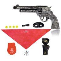 Набор ковбоя дикий запад, пистолет, маска, кабура, мешок с монетами