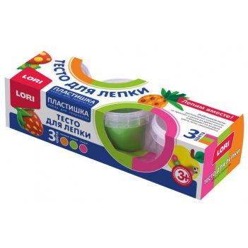 Пластишка тесто для лепки набор №19, 3цв. по 80 гр.lori