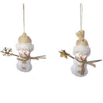 Новогоднее украшение снеговик, 10х4х11см, 2в