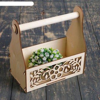 Кашпо деревянное стелла клик цветы, с ручкой, натуральный