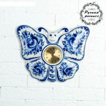 Часы «бабочка», 23,5x29 см, гжель