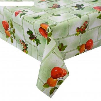 Клеенка столовая на тканевой основе 1,28х25 м смородина цвет зеленый