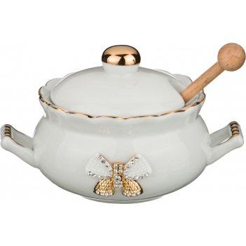Банка для мёда venezia с деревянной палочкой, высота=9 см, диаметр=11 см (