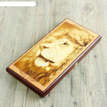 Нарды лев, деревянная доска 40х40 см, с полем для игры в шашки