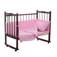 Комплект в кроватку 4 предмета горошки розовый 10403