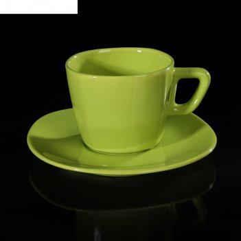 Набор чайный, 2 предмета: чашка 200 мл, блюдце, зеленый, квадратный