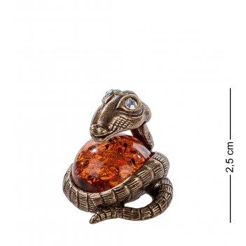 Am-304 фигурка змея глазастик (латунь, янтарь)