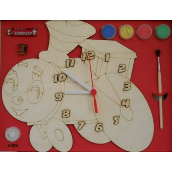 Часы с циферблатом под роспись паровозик с красками