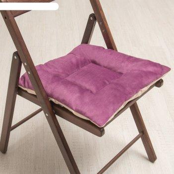 Подушка на стул квадратная 45х45см, высота 5см, велюр сиреневый, серый, си
