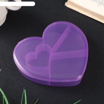 Шкатулка пластик для мелочей сердце микс 2,8х12,5х13,5 см