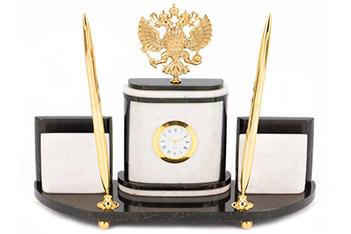 Настольный набор герб мрамор бронза 300х95х200 мм 2500 гр.