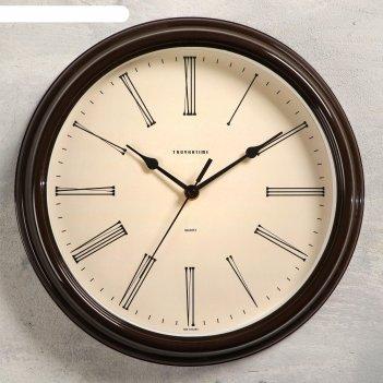 Часы настенные классика плавный ход, коричневые, d=31 cм