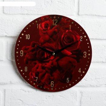 Часы дерево настенные розы