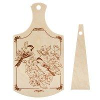 Доска разделочная береза, рисунок птицы, лопатка в подарок