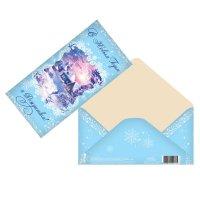 Конверт для денег с новым годом и рождеством зимний пейзаж