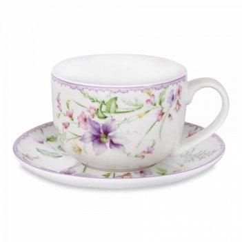 Чашка с блюдцем «селена», объем: 0,4 л, материал: фарфор, серия primavera,
