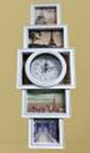 Фоторамка-коллаж для 4 фото с часами 59*22*4см