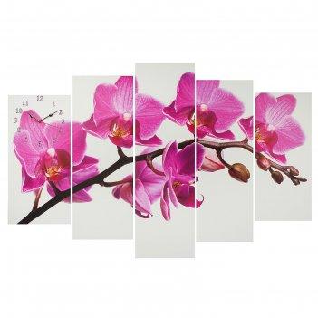 Часы настенные модульные «фиолетовые орхидеи на белом», 80 x 140 см