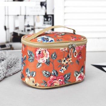 Косметичка-сундук цветение, отдел на молнии, зеркало, цвет оранжевый/цветы