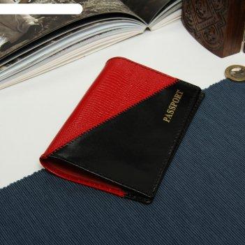 Обложка для паспорта, шик/игуана, цвет чёрный/красный