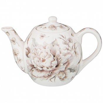Чайник lefard белый цветок 600 мл серый (кор=24шт.)