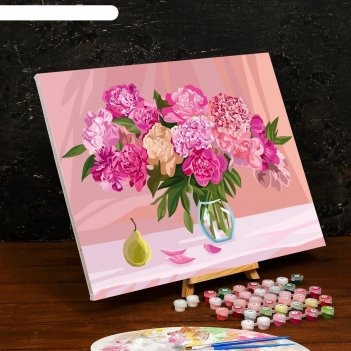 Картина по номерам на холсте с подрамником «пионы» 40x50 см