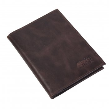 Обложка для документов водителя o-78 +паспорт, без застежки, коричневый, т