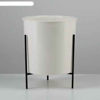 Кашпо акцент с подставкой 17х16,5х21,5 см, цвет белый