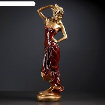 Фигура девушка с розой бронза красное платье 15x19x55 см