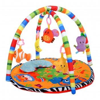 Развивающий коврик «зоо», с дугами и подушечкой