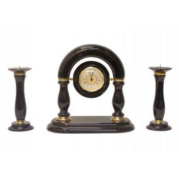 Часы, два подсвечника (обсидиан) 300х150х350 арт. ч-009