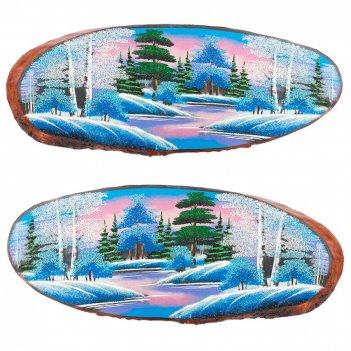 Панно на срезе дерева зима горизонтальное 75-80 см