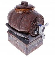 Набор винный бочка на керам подставке монах, 5л