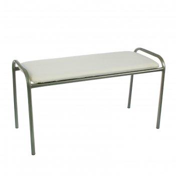 Банкетка-скамья с хроомовым покрытием ножек, цвет белый