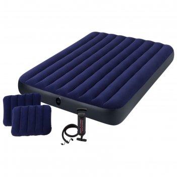 Матрас надувной classic downy fiber-tech,152 x 203 х 25 см, с ручным насос
