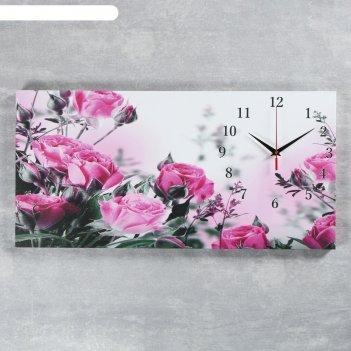 Часы настенные на холсте розовые розы, 40х76 см микс
