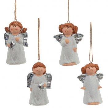 Фигурка декоративная ангел, l4 w2,8 h7,8 см, 4 в.