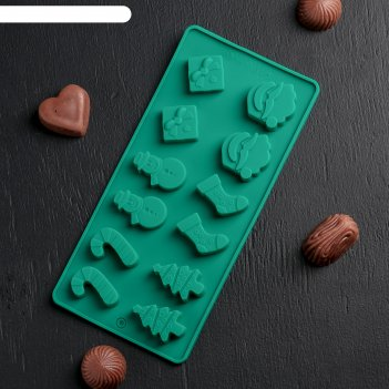 Форма для льда и шоколада, 12 ячеек, 21,5х10 см новый год