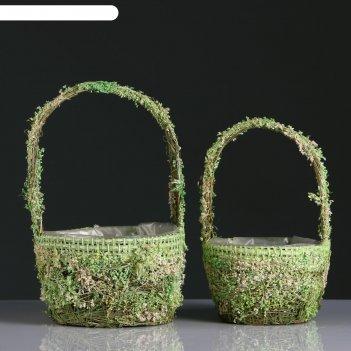 Набор корзин, 2 шт, из травы, 1:20.5x20.5x12.5/32 см, 2:16.5x16.5x11/27 см