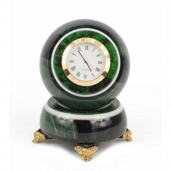 Часы шар антистресс офиокальцит 85х85х125 мм 1300 гр.